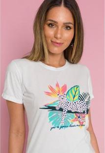 Camiseta Sislla Cheetah Feminina - Feminino-Branco