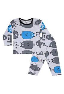 Conjunto Pijama Menino Em Meia Malha Rotativa Gelo - Liga Nessa