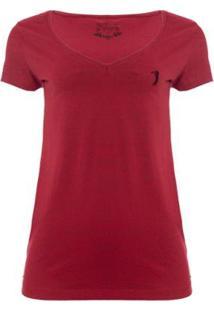 Camiseta Aleatory Gola V Básica Feminina - Feminino-Vinho
