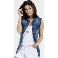 741d130833 Colete Feminino Jeans Destroyed Marisa