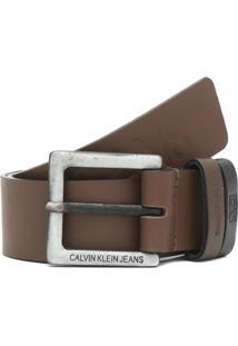Cinto Couro Calvin Klein Jeans Logo Marrom - Kanui
