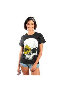 Camiseta Feminina Mirat Caveira Girassol Preto