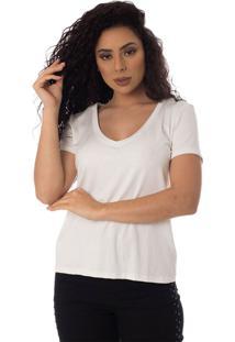 T-Shirts Daniela Cristina Gola V Profundo 10269 12830 Branco - Branco - Feminino - Dafiti