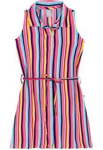 Vestido Infantil Menina Em Tecido De Viscose Com Abertura Frontal Hering Kids