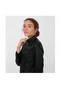 Jaqueta Em Material Sintético Com Zíper | Blue Steel | Preto | M