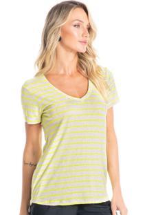 Camiseta Básica Em Viscolinho Vivi Neon