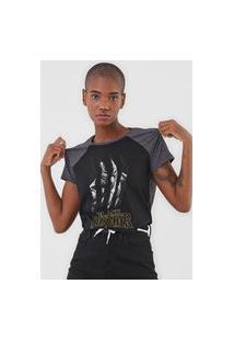 Camiseta Cativa Marvel Pantera Negra Preta