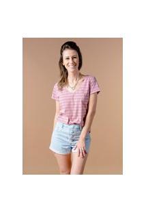 Camiseta Manga Curta Woman Listrada Flamingo Rosa