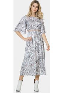 Vestido Mídi Estampado Tecido Columbina - Lez A Lez
