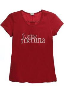 Camiseta É Uma Menina - Feminino-Vermelho