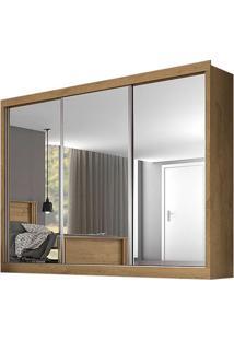 Guarda-Roupa Nápoli - 3 Portas - Com Espelho - Amêndoa