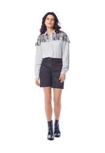 Shorts Comfort Detalhe Ziper Preto 36
