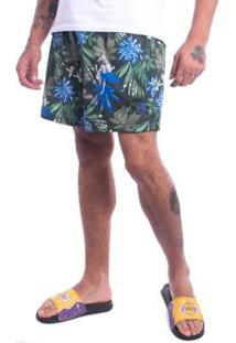 Bermuda Jota K Sintetica Floral Furadinha Masculina - Masculino-Verde