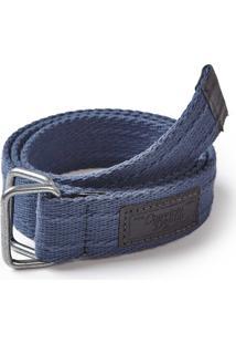 Cinto Em Cadarã§O Convicto Azul Marinho Com Etiqueta De Couro Personalizada - Azul Marinho - Masculino - Dafiti