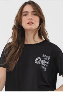 Camiseta Cropped Coca-Cola Jeans Lettering Preta