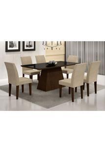 Conjunto De Mesa De Jantar Luna Ii Com Vidro E 6 Cadeiras Grécia Veludo Castor E Creme