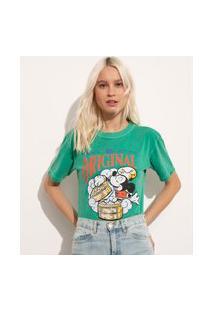 T-Shirt De Algodão Mickey Manga Curta Decote Redondo Mindset Verde