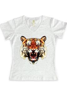 Camiseta Cool Tees Tigre China Town Feminina - Feminino-Mescla Claro