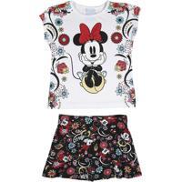 Conjunto Infantil Com Saia Para Menina Disney - Preto - Feminino 1099ada0d5b89