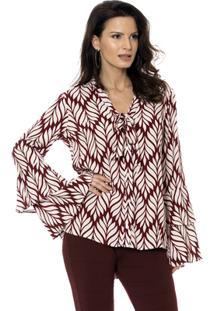 0047a12156 Camisa Bisô Laço Folhas Femininas - Feminino-Vinho