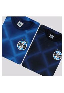 Kit De 2 Camisas Grêmio World Azul E Preta