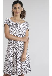Vestido Estampado Geométrico Off White