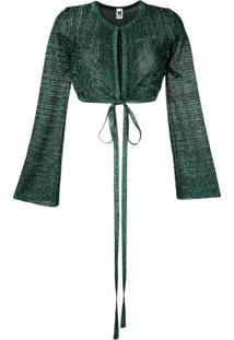 M Missoni Sparkly Knit Bolero Cardigan - Green