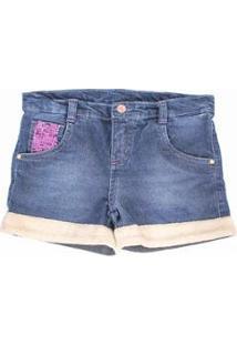 Short Infantil Lápis De Cor Jeans Feminina - Feminino-Azul