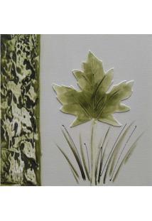 Quadro Artesanal Com Textura Folha Verde 30X30Cm Uniart