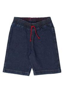 Bermuda Infantil Jeans Com Cós Em Elástico E Cordáo