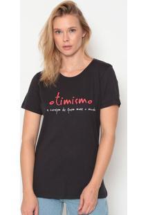 """Camiseta """"Otimismo"""" - Preta & Vermelha - Forumforum"""