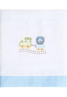 Toalha De Banho Bordado Leão- Branca & Azul Claro- 7Papi