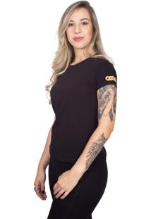 Camiseta 4 ÁS Preta Manga Curta Gold - Preto - Feminino - Dafiti