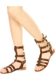 Rasteira Dafiti Shoes Gladiadora Marrom