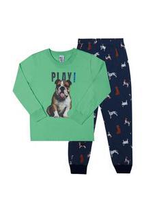 Pijama Meia Malha - 46580-67 - (4 A 10 Anos) Pijama Verde - Infantil Menino Meia Malha Ref:46580-67-4