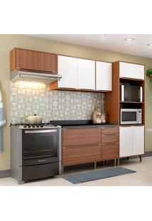 Cozinha Compacta Calábria Com Tampo 9 Portas Nogueira/Branco - Multimóveis