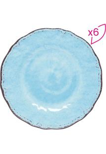 Jogo De Pratos Para Sobremesa- Azul Claro & Marrom- Rojemac