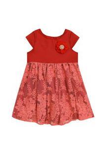 Vestido Bordado Amandier Vermelho