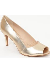 Peep Toe Em Couro Metalizado- Dourado- Salto: 7,5Cmloucos E Santos
