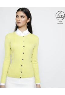 Cardigã Em Seda Maquinetado - Verde Limãoversace