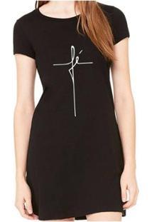 Vestido Criativa Urbana Fé Religiosa Feminino - Feminino-Preto