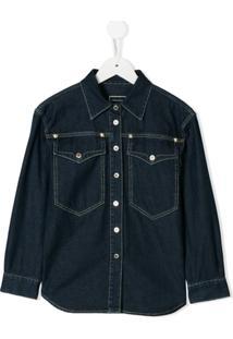 Young Versace Camisa Com Bolsos - Azul