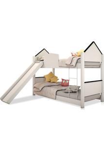 Beliche Infantil Casinha Prime Branco E Preto Escorregador Casah