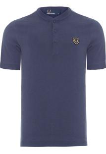 Blusa Masculina Badge Henley - Azul