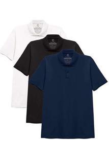 Kit 3 Camisas Polo Masculina A Branco