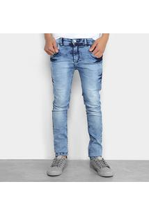 Calça Jeans Infantil Grifle Skinny Marmorizada Masculina - Masculino-Azul Claro