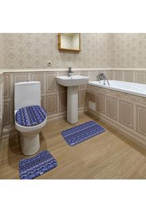 Jogo De Banheiro Abstrato Azul Marinho Único