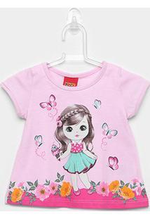 Blusa Infantil Kyly Borboletas - Feminino-Rosa Claro