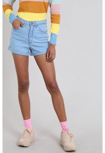 Short Jeans Feminino Hot Pants Barra Dobrada Azul Claro