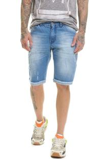 Bermuda Offert Jeans Premium Destroyed Slim Fit Azul Aço